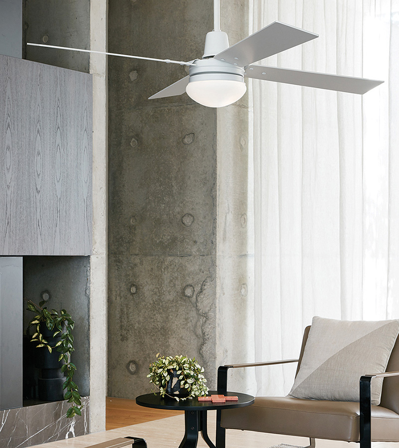 Aluminium ventilator met verlichting in woonkamer